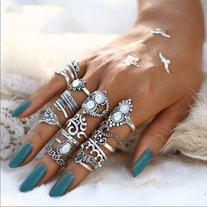 16 pcs. Sterling Silver Fire Opal Boho Ring Set